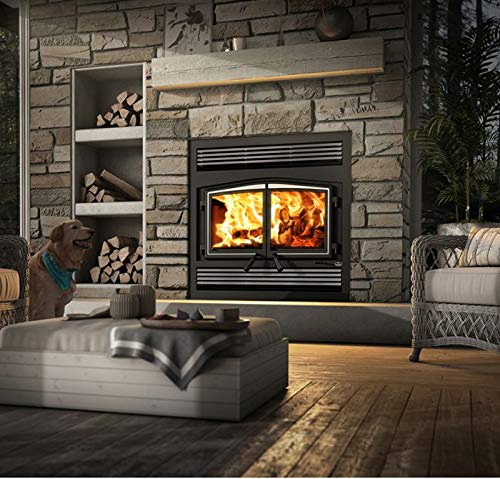 Osburn Stratford Wood Fireplace w/Faceplate and Brushed Nickel Door Overlay -
