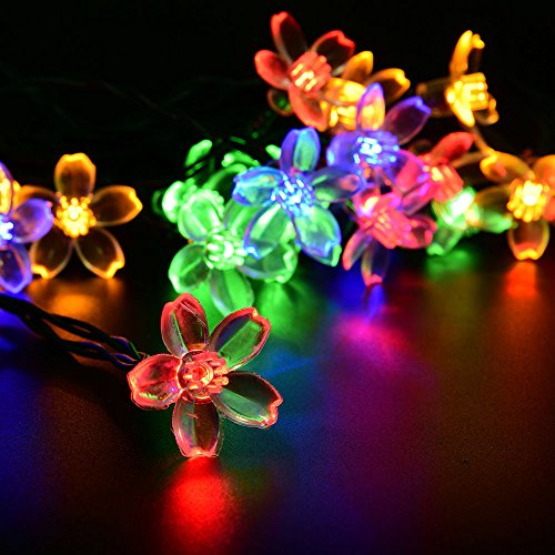 Solar Powered Flower String Lights - LEDniceker Decorative Lights 50 LED Fairy String Lights for Outdoor, Garden, Patio, Tree, Holiday, Party, Camping Decoration(Multi-colored Blossom, 23ft/7m)