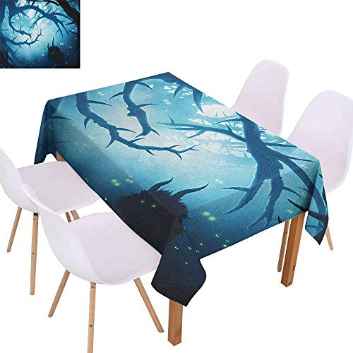 Marilec Washable Table Cloth Mystic Animal with Burning Eyes in The Dark Forest at Night Horror Halloween Illustration Party W52 xL70 Navy White -
