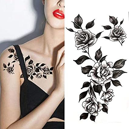 Yangll Flor Grande Negro Body Art Impermeable Temporal Sexy ...
