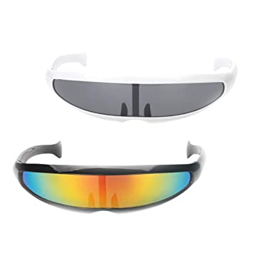 MagiDeal 2x Space Robot Futuristic Soldier Sunglasses Cosplay Party Glasses