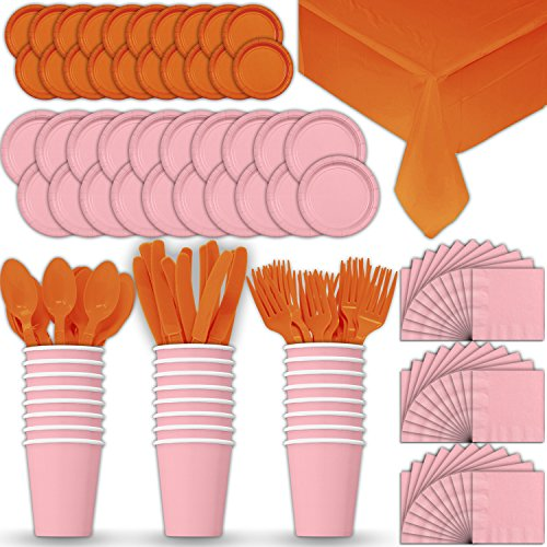 Paper Tableware Set for 24 - Light Pink & Orange - Dinner and Dessert Plates, Cups, Napkins, Cutlery (Spoons, Forks, Knives), and Tablecloths - Full Two-Tone Party Supplies Pack