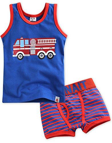Undershirt Cotton Baby (Vaenait Baby 2T-7T Kids Boys 2pcs Underwear Undershirt Boxer Brief Set Fire Truck S)