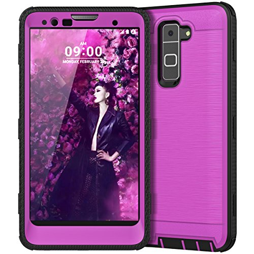 LG Stylo 2 Case, LG Stylo 2 Plus Case, CinoCase Heavy Duty Rugged Armor Protective Case Hybrid TPU Bumper Shockproof Case with Brushed Metal Texture Hard PC Back for LG Stylo 2(LS775)/Stylus 2 Purple
