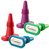 Rabbit Wine and Beverage Bottle Stoppers with Grip Top (Assorted Colors, Set of 4)