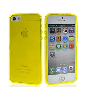 CASEPRADISE Smooth Soft Gel Flexible TPU Silicone Back Etui Cover Case With 1x Screen Protector For Apple Iphone 5 5G 5th Yellow