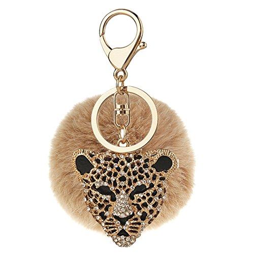Price comparison product image Bling Bling Genuine Cool leopard Rhinestone Artificial Rabbit Fluffy Fur Ball Car Keychain Handbag (C7)