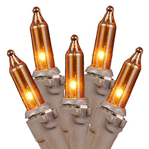 Novelty Lights 100 Light Orange Christmas Mini Light Set, Brown Wire, 50' Long