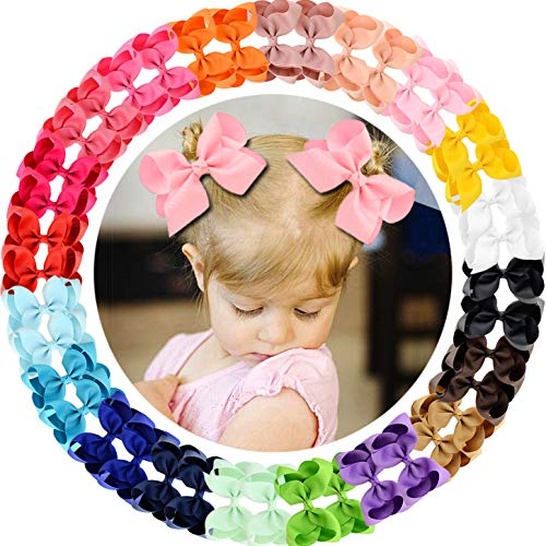 40pcs 4.5' Hair Bows Clips Grosgrain Ribbon Bows Hair Alligator Clips Hair Barrettes Hair Accessories for Baby Girls Toddler Infants Kids 20 Colors in Pairs