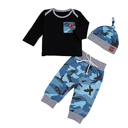 84243fe5e75d Wenini Newborn Boy Camouflage Outfits Infant Baby T Shirt Tops Pants Hat  Set Clothes (0