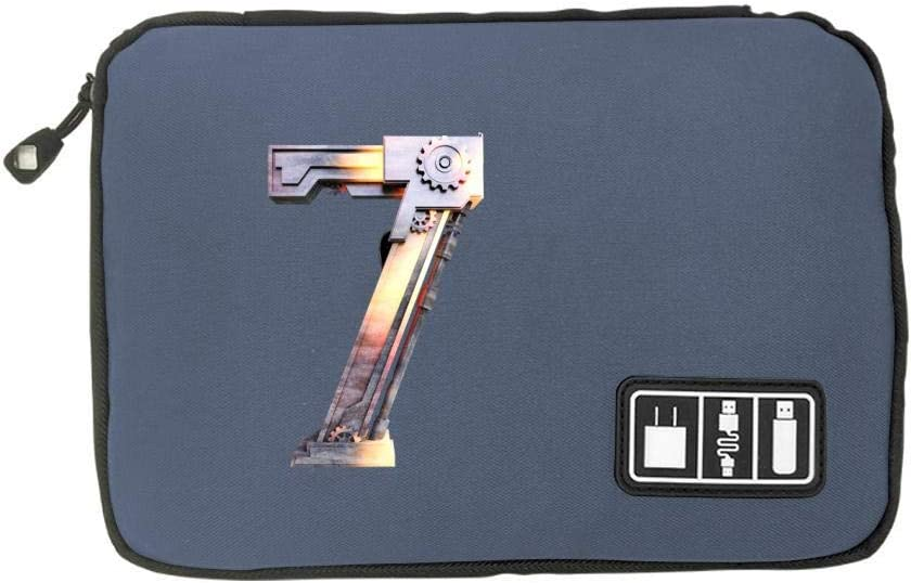 SD Memory Cards Cable Organizer Electronic Accessories Travel Bag Number 7 Charm USB Flash Drive Case Bag Wallet
