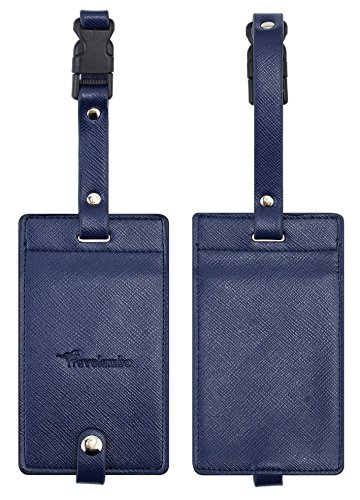 Travelambo Synethic Leather Luggage Tags & Bag Tags 2 Pieces Set Various Colors ()