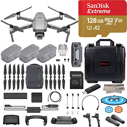 DJI Mavic 2 Pro Drone Quadcopter, Fly More Combo Kit, Hasselblad Camera HDR Video, with 3 Batteries, 128GB Micro SD, Landing Gear and Pad, Prop Holder, Stick Protector, Extra Hard ()