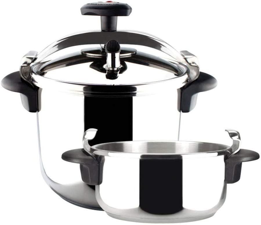 M Magefesa Star Quick Pressure Cooker Easy Use Stainless Steel Induction 3 Safety Systems (Straight 4L+6L)