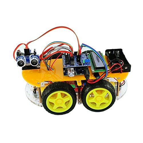 Bluetooth Ultrasonic Smart Car Robot Starter Kit for Arduino 1602LCD Atmega-328P by Aigh Auality shop