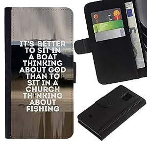 All Phone Most Case / Oferta Especial Cáscara Funda de cuero Monedero Cubierta de proteccion Caso / Wallet Case for Samsung Galaxy S5 Mini, SM-G800 // pesca marinero dios cristiano divertido pasatiempo