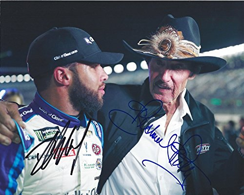 (2X AUTOGRAPHED 2018 Darrell Wallace Jr. & Richard Petty #43 STP Ford Fusion Racing Team PIT ROAD COWBOY HAT Monster Energy Cup Picture 8X10 Inch Signed NASCAR Glossy Photo with COA)