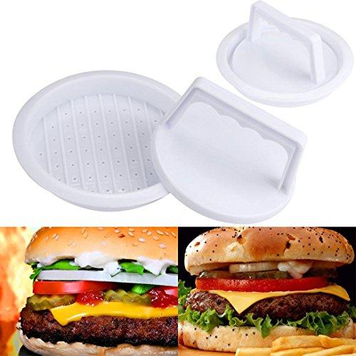 Price comparison product image Perfect Burger Press Plastic Patty Burger Maker 3-IN-1 Burger Mold (White)