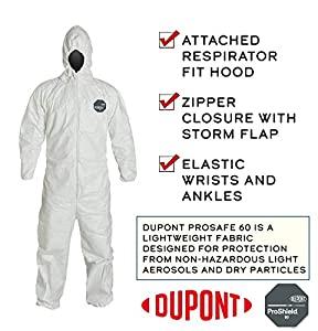 [6 PACK] DuPont ProShield 60 NG127S Disposable Protective Chemical and Paint Coverall with Elastic Cuff, Hood and Storm Flap, White, Size 4XL