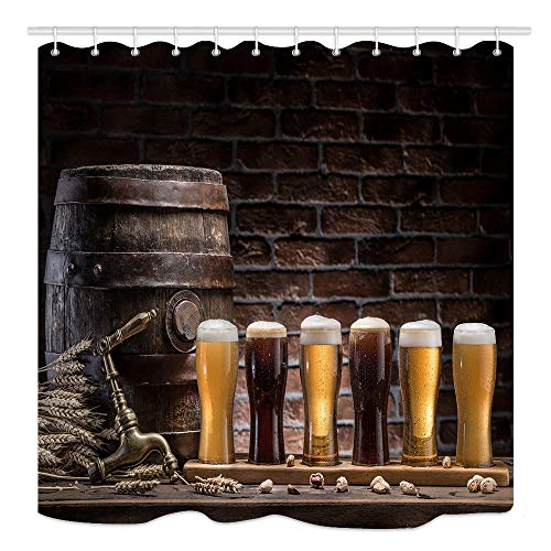 KOTOM Beer Shower Curtain Craft Brewery Theme, Glasses of Beer and Ale Barrel on Wooden Table in Vintage Wall House, Waterproof Fabric Bathroom Decor, Bath Curtains 12PCS Hooks, 69X70 (Beer Shower Curtain)