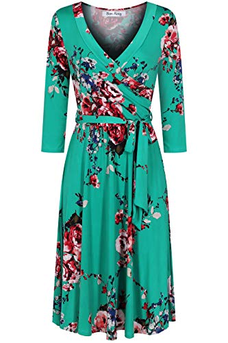 BodiLove Women's Silky Polyester Stretchy Fabric 3/4 Sleeve V-Neck Printed Knee Length Faux Wrap Dress Green S