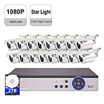 IHOMEGUARD Full HD 1080P Color Night Vision Security Camera System, 16 Channel DVR Recorder and (16)StarLight SONY Sensor 2.0 MP Weatherproof Outdoor / Indoor Full Color Cameras with 2TB HDD