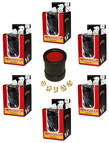 Lot of (6) Las Vegas Style Premium Black / Red Dice Cups With 30 Dice by Diamond Mountain
