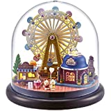 Flever Dollhouse Miniature DIY House Kit Creative Room With Furniture and Glass Cover for Romantic Artwork Gift(Happy Ferris Wheel)