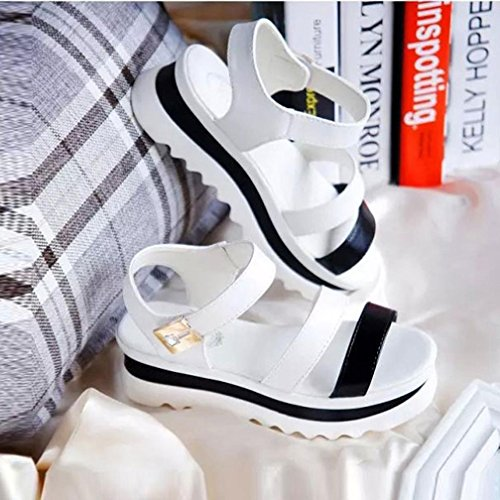 Womens Sandals ,Clode® 1 Pair Women Summer Wedges Platform Sandals Fashion Thick Bottom Roman Style High Heel Ankle Strap Open Toe Shoes White