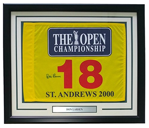 DON LARSEN NY YANKEES SIGNED ST ANDREWS US OPEN 19x23 FRAMED GOLF PIN FLAG w/PSA