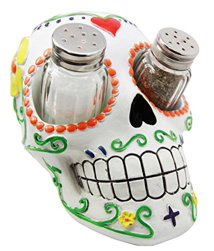 Day of The Dead White Sugar Skull Salt Pepper Shakers Holder Figurine (Mexican Day Of The Dead Mask)