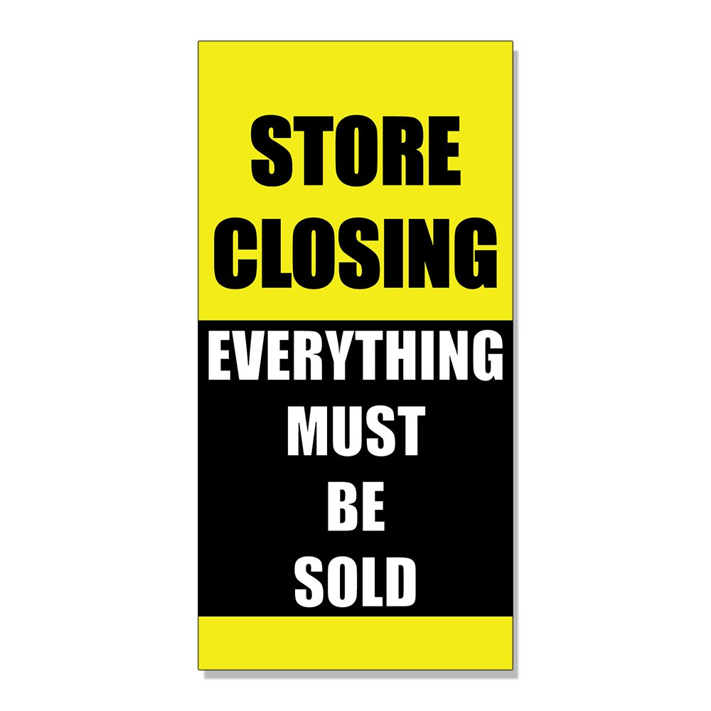 Store Closing Everything Must Be Sold! DECAL STICKER Retail Store Sign - 14.5 x 36 inches Fastasticdeals
