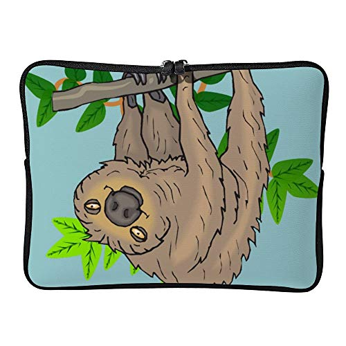 Laptop Sleeve Water Repellent Neoprene Bag Protective Case Cover Compatible with MacBook Pro/Asus/Dell/Hp/Sony/Acer 12 Inch, Drawing of a Sloth Hanging Upside Down -  Elvoes, Elv-g8dcbatg-2