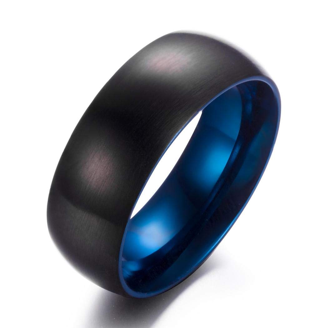 Black with Inner Blue JEWURA Couple Love Ring Stainless Steel Jewelry