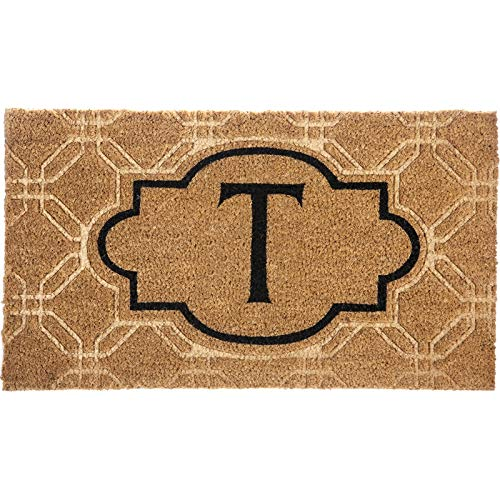 Evergreen Flag Monogram Embossed Coir Floor Mat, Letter T
