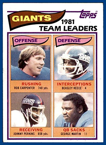 1982 Topps #415 New York Giants Rob Carpenter Johnny Perkins Beasley Reece George Martin (ex) ()