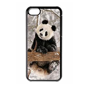 Diy Cute Lovely Panda Custom Cover Phone Case for iphone 5c Black Shell Phone [Pattern-3]