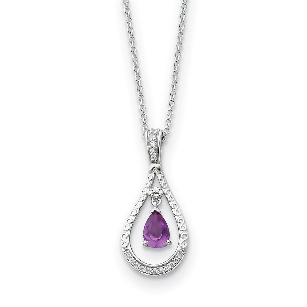 Beautiful Sterling silver 925 sterling Sterling Silver June CZ Stone Never Forget Tear 18in Birthstone Necklace