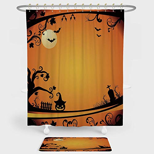 iPrint Vintage Halloween Shower Curtain And Floor Mat Combination Set Halloween Themed Image Eerie Atmosphere Gravestone Evil Pumpkin Moon Decorative For decoration and daily use Orange Black -