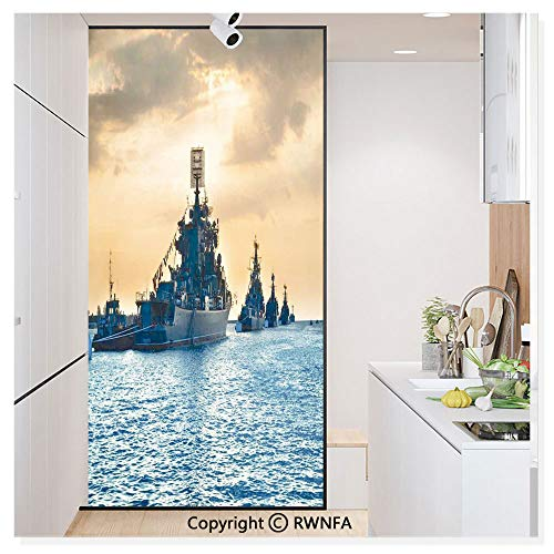 (Non-Adhesive Privacy Window Film Door Sticker Ship Convoy on Sea Carrying Supplies to Battlefield Enemy Coasts Warfare Photo Glass Film 23.6 in. by 78.7in. (60cm by 200cm),Blue Tan )