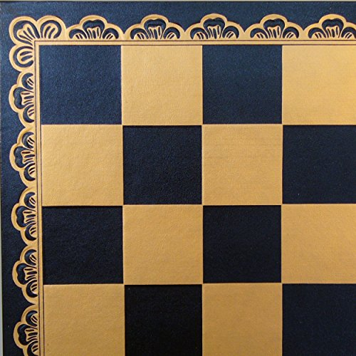Ital Fama 18in Pressed Leather Chess Board, Black and Gold by Italfama
