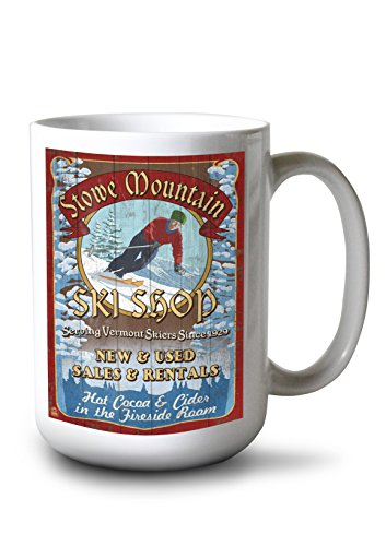 Ski Vermont Shop - Lantern Press Stowe Mountain, Vermont - Ski Shop Vintage Sign (15oz White Ceramic Mug)