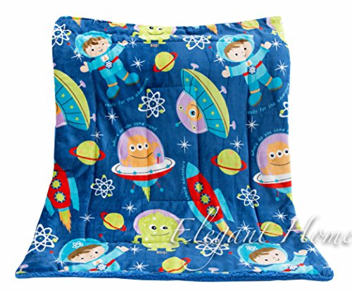 Elegant Home Multicolor Aliens Rocket Spaceship Kids Soft & Warm Sherpa Baby Toddler Boy Blanket Printed Borrego Stroller or Toddler Bed Blanket Plush Throw 40X50 # Space Ship