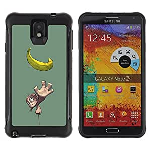LASTONE PHONE CASE / Suave Silicona Caso Carcasa de Caucho Funda para Samsung Note 3 / Cute Small Monkey & Banana