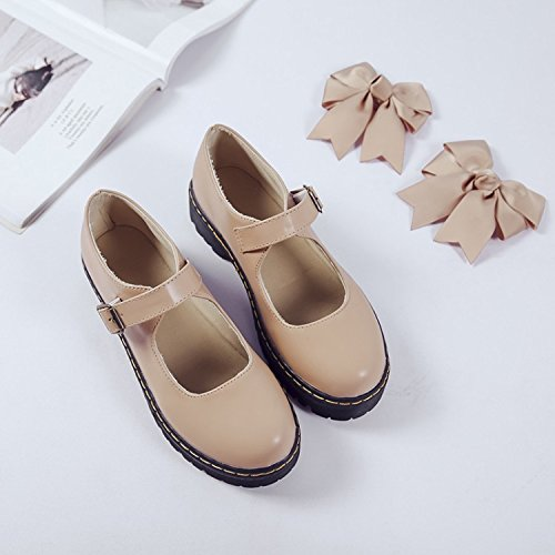 Apricot Strap Ladies Dress School Women's TIOSEBON Black Shoes Oxford Shoes Uniform FvqX4O