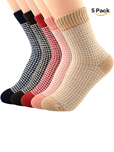 11 Person Costume Halloween (Zando Womens Fashion Winter Autumn Knit Print Wool Socks Vintage Warm Soft Casual Thick Crew Sock 5 Pack - Mix Diamond Point Shoe Size)
