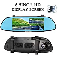 Dual Lens Car Camera, Car DVR Dash Cam Rearview Mirror 6.5 Inch 1080P Full HD Dash Cam IPS Touch Screen 170 Wide Angle Truck Rearview Dash Camera Vehicle Recorder