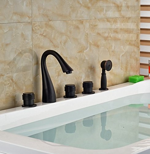 GOWE Brass ORB Waterfall Bathtub Sink Faucet Three Handles Mixer Tap Deck Mount with Handshower Sprayer 4