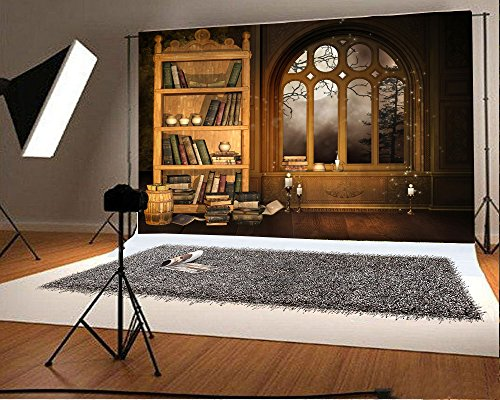 Laeacco 7x5FT Vinyl Backdrop Photography Background European Retro Library Bookshelf Study Mural Room Interior Scene Background Books Candle Window Moonnight Halloween Backdrop Photo Studio Props ()