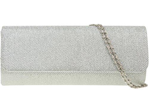 Evening Prom Women's LeahWard Wedding Bag Clutch Silver Glitter 2231 Handbag UXwYXR
